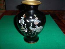 Antique Japanese Vase, Black Enamel over Brass, Pretty inlaid Abalone Birds
