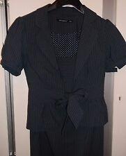Lined grey pinstripe suit Fluted tie waist cap sleeve jacket & pencil skirt 8-10