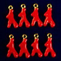 12Pcs 18x8xmm Red Coral Carved Tibetan Golden Freeform Pendant Bead S46274