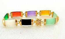 Multicolor Black White Purple Green Red Yellow Jade Gold Plated Fortune Bracelet