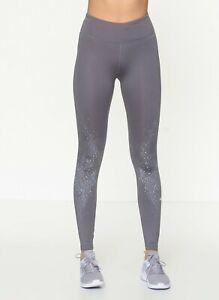 Nike Womens Sportswear Fast Flash Graphic Tights Gray BV4715-056 Size XL