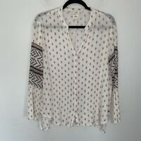 O'Neill Embroidered Beach Blouse Long Sleeve V Neck Button Front Flowy S