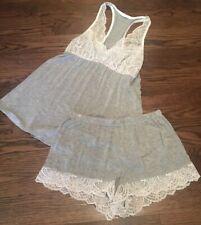 Fleur't Sz L Pajama Set Cami Shorts Marled Gray W White Lace Trim