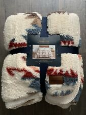 Pendleton Home Collection Fleece Sherpa Cozy Blanket King Size White Sands Multi