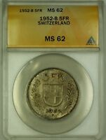 1952-B Switzerland 5 Fr Five Francs Silver Coin ANACS MS-62