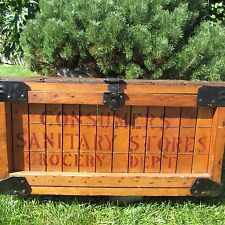 """ANTIQUE 1911 """"CONSUMERS SANITARY STORES""""  WOOD PRODUCE  INVINTORY   STORAGE BOX"""