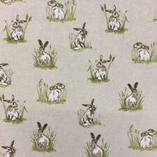 HARES and RABBITS (SMALL) VINTAGE LINEN LOOK COTTON MIX CURTAIN/CRAFT FABRIC