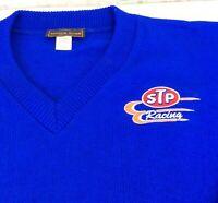 Vintage STP RACING Andrew Rohan Acrylic Sweater Richard Petty Blue Mens L USA