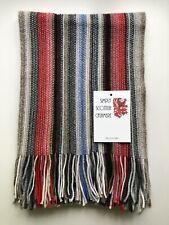 100% Pure Cashmere Long Stripe Scarf Multi Colour Grey Natural Glitter Sparkle