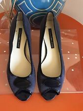 Bandolino navy blue canvas open toe low block heel size 6.5