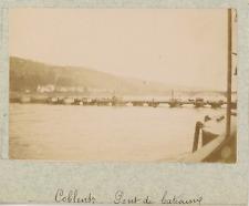 Allemagne, Coblence, Koblenz, pont de bateaux  vintage albumen print,Photos pr