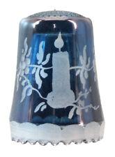Fingerhut aus Kristallglas - Blau gelüster mit Gravur Kerze - AE 745