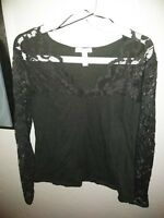 Ambiance Apparel XL dark gray Black Top With Lace Neck And Sleeves