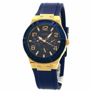 Guess Jet Setter Day Date Watches W0571L1 Gold Plated/Rubber Ladies