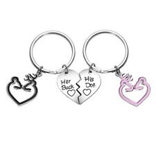 2pcs His Doe and Her Buck Key Chain Ring Deer Browning Jewelry Heart Couple S