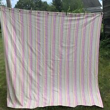 Pottery Barn Kids Striped Stripe Shower Curtain Pink Green Yellow White Cotton