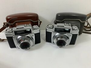 Vintage German Agfa Apotar Silette Pronto Camera Lot of 2 w/ Hard Leather Cases