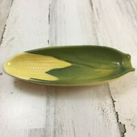 Vtg Shawnee Pottery 79 Yellow Green Corn King Relish Tray Dish