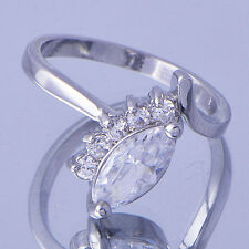 White Gold Filled Oval Cubic Zirconia Eye Women Ring Size 7 Free Shipping