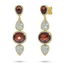 14K Yellow Gold Oval Pear Red Garnet Green Amethyst Diamond Dangle Drop Earrings