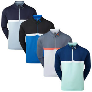 FootJoy Mens Colour Blocked Stripe Chill-Out Pullover FJ Golf Top Stretch Jumper