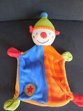 doudou plat clown bleu orange rouge vert brodé étoile BABY CLUB C&A