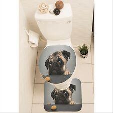 Pug Dog Puppy Set of 3 Bathroom Rug Set Mat Toilet Lid Cover y70 y0116