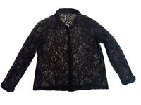 Zara Size XL Women's Long Sleeve Sheer Black Lace Floral Style Blouse Top