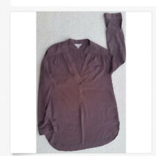 Zoa Rolled Up Sleeve Tunic Shirt V-Neck half button neckline Women's Size Small