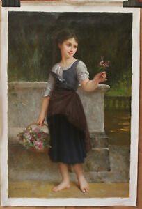 "Repro Emile munier-portrait girl picking flower oil painting on canvas 24""x36"""