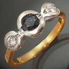 SAPPHIRE DIAMOND Solid 18k Yellow White GOLD ETERNITY RING Val=$1640 Mid Sz N