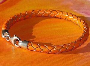 Mens / ladies 6mm Orange leather & sterling silver bracelet by Lyme Bay Art