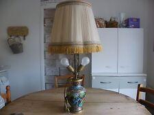 LAMPE DE BUREAU OU SALON CLOISONNÉE SUR PIED - 2 AMPOULES - ABAT JOUR REGLABLE