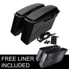 Patined Black Hard Saddlebags Trunk For  For Harley Road king Street Glide 93-13