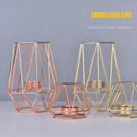 Nordic Style Wrought Iron Geometric Candle Holders Home Decoration Metal Craft L
