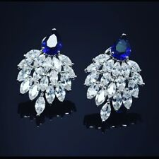 8.93 Cts F/VS1 Natural Marquise Diamonds Sapphire Stud Earrings In Fine 14K Gold