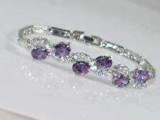 18ct White Gold Plated Created Amethyst Diamond Bracelet - Prom Cruise Wedding