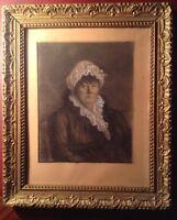 Dessin Ancien 1809 Portrait XIXe Femme à la charlotte Crayon et rehauts Signé