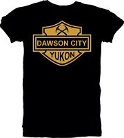 New Men's Handmade T Shirt Tee Dawson City Yukon Vintage Look Black Gold Silver