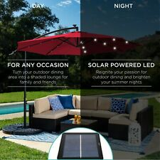 10' Offset Solar LED Lighted Cantilever Patio Umbrella Home Outdoor Furniture