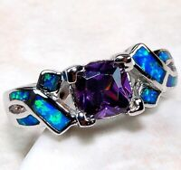1CT Amethyst & Australian Opal Inlay 925 Sterling Silver Ring Jewelry Sz 9 ,OR-1