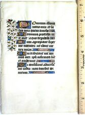 Illuminated medieval Boh leaf,9 gold initials&other Decorations,ca.1450