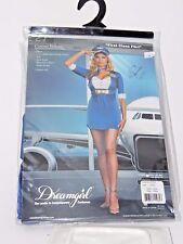 Plus Size 1X/2X Women's Blue Stewardess Flying Costume Halloween Party Sexy