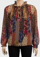 Womens PRIMARK Tie Neck Floral Chiffon Boho Top - Size 6 8 10 12 14 16 18 20