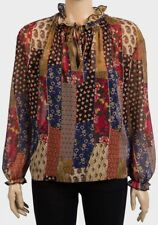 Womens PRIMARK Tie Neck Floral Chiffon Boho Top - Size 6 8 10 12 14 16 18 20