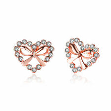 Heart Stud Earrings,Casual Rose Gold Plated & Rhinestone Gift Women Girls YG