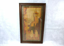 XXL Art Nouveau Picture with Brand Painting Inlaid France um 1900 Oriental