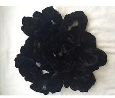 SET of 12 Black Velvet Hair Scrunchies Elastic Scrunchy Hair Bobbles