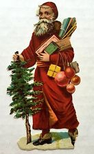 Victorian Era 1900s Die Cut Scrap of Old Style Santa w/ Tree and Toys