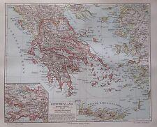 Landkarte aus 1895 - Griechenland 24x30 cm - alte Karte Lithographie old map